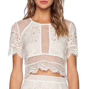 Lovers + Friends Ivory Ella Lace Crop Top!